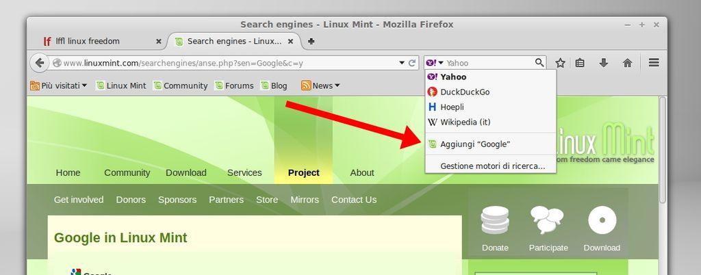 Linux Mint - aggiungi nuovo motore ricerca