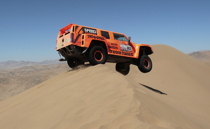 Hummer's driver Robby Gordon and co-driver Johnny Campbell, both from the U.S., compete in the seventh stage of the 2012 Argentina-Chile-Peru Dakar Rally through Copiapo, Chile, Saturday Jan. 7, 2012. (AP Photo/Martin Mejia)