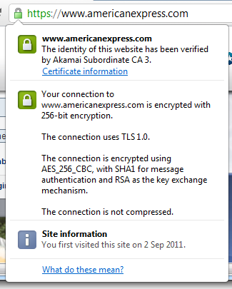 Inspecting the certificate on the American Express website