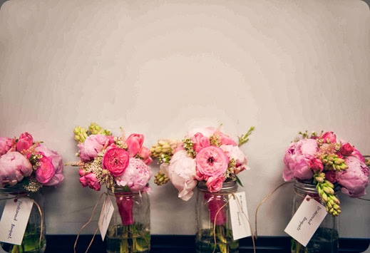 presentation mason jar bouquets  bows and arrows