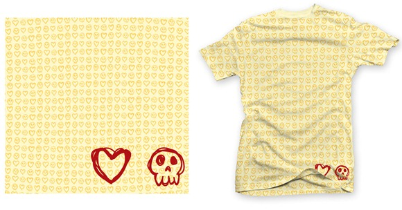 Camiseta skull and hearts