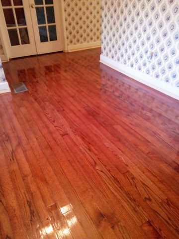 glossy finish on hardwood floors
