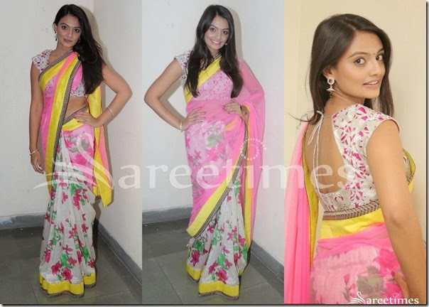 Nikitha_Narayan_Pink_White_Half_and_Half_Saree