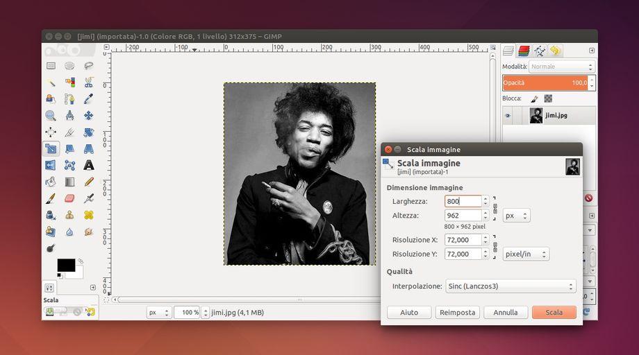 GIMP - Scala Immagine