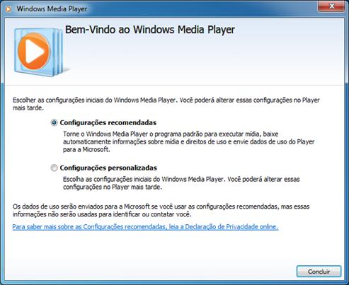 Bem-vindo ao Windows Media Player