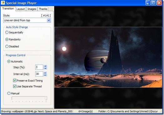 Special Image Player effetti di transizione