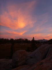 Sunset at Sunrise Campsite, Yosemite.