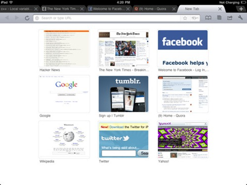 Browser Google Chrome untuk iPad - iChromy