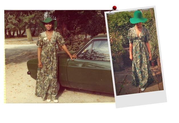 """This green maxi is a classic, for 2011 I let the print speak for itself by pairing it with simple sandals and minimal accessories. Although I still adore Mum's green felt hat. It's perfect for a sunny day with a retro tee and denim cut offs"" Hazel, Rag & Bow."