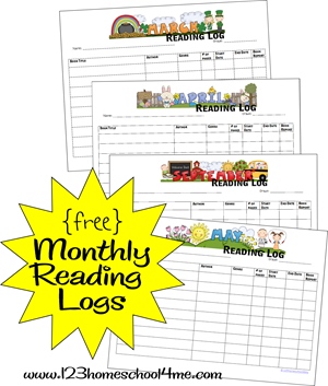 free printable monthly reading logs for homeschool