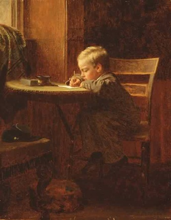 Eastman-Johnson-xx-Writing-to-Father-1863