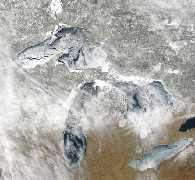 Satellite view of Great Lakes ice cover on 4 March 2009. NOAA