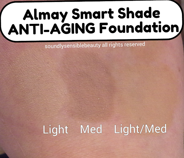 Almay Smart Shade Anti-Aging Foundation SPF 20, Review & Swatches of Shades 100 Light, 200 Light Medium, 300 Medium