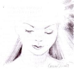 Portret de fata visatoare desen in creion