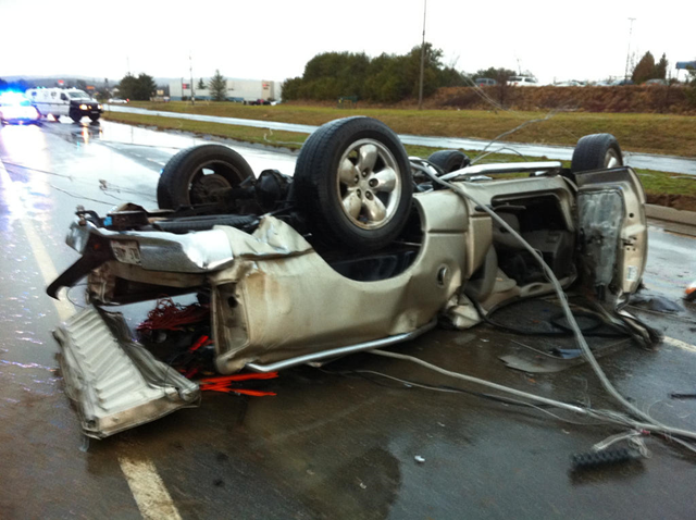 Car overturned by the tornado near Adairsville, Georgia, on 30 January 2013. Photo: WSB-TV on http://pic.twitter.com/2lAL0Lmc