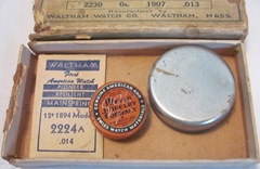 vintage waltham watch box w closed containers