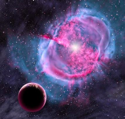 ilustração de exoplaneta em zona habitável