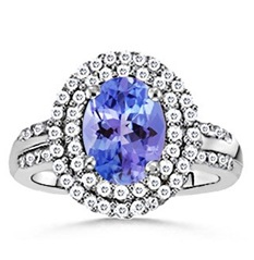 Oval Tanzanite and Diamond Border Ring