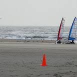 sailbuggies on the beach in IJmuiden, Noord Holland, Netherlands