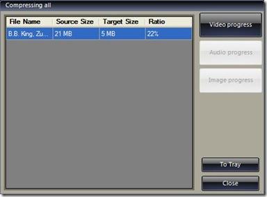 File Sizer termine compressione nuova dimensione del file