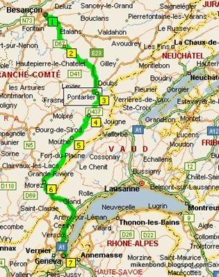 Besançon - Geneva map