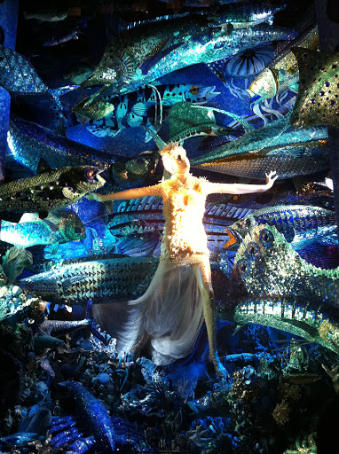 This window had an aquatic theme and had all sorts of glittery, sequins, and metallic accents to make it shine.