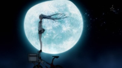 Erio standing on the handlebars of a bicycle against a giant moon and night sky backdrop