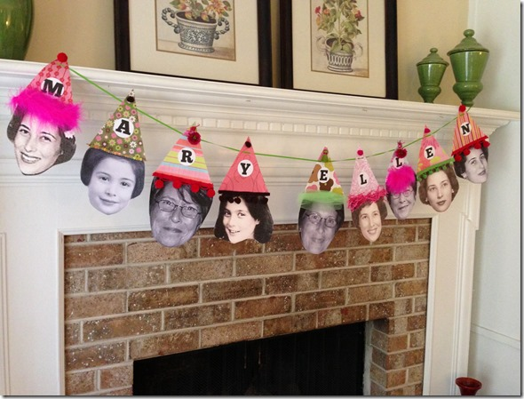 I Usually Hang Pennant Banners For Parties But Wanted To Do Something Special Mom Cut Out Pictures Of Her Throughout The Years And Made Party Hats