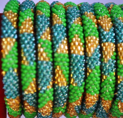 Rollover Green Mix Bead Bracelets