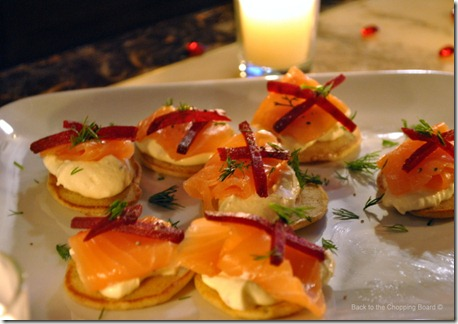 Smoked Salmon Blinis with Vodka Crme Frache and Beetroot