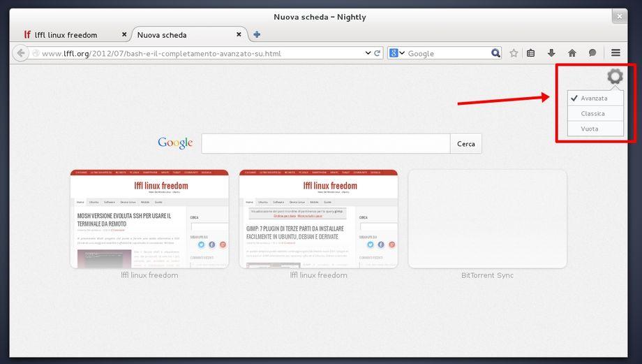 Firefox Nightly nuova tab modalità avanzata e classic
