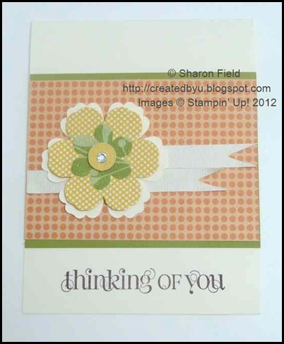 horizontal paper ribbon orientated thank you card