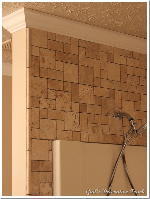 Gails Decorative Touch Crown Molding And Tile Is Up In Master - Bathroom crown molding