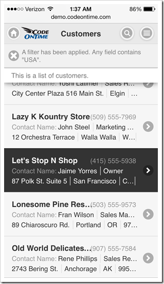 Mobile app created with Code On Time displayed in portrait orientation on Apple iPhone 5s.