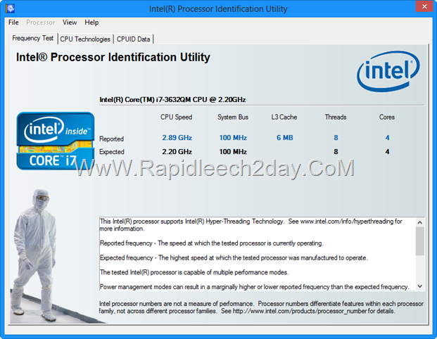 Intel® Processor Identification Utility Version 4.55 Number of CPU Cores