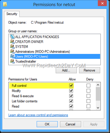 Permissions for netcut-Windows 8