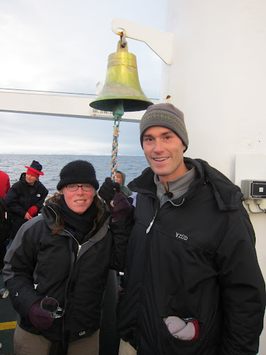 Ringing the ship's bell to celebrate our polar crossing.