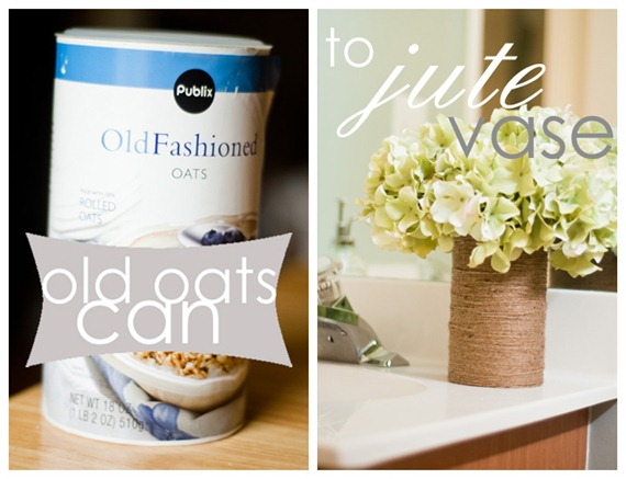 old oats can to jute vase