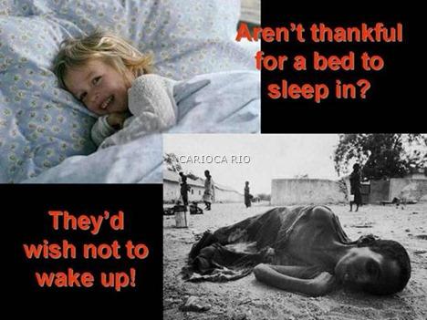 Não está agradecido por uma cama para dormir