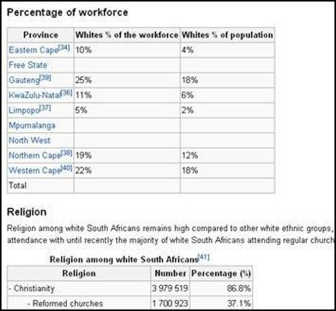 AFRIKANERS REMOVED FROM WORKFORCE BY ANC REGIME 2009 STATS SA