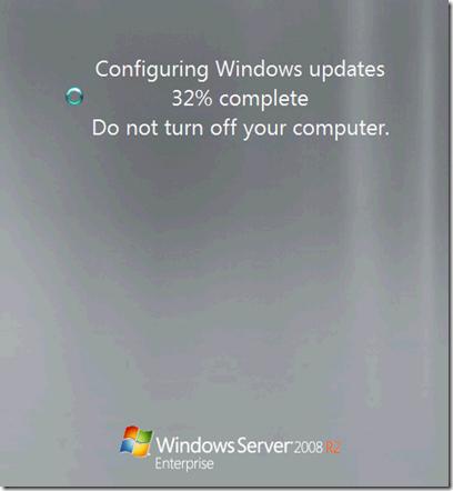 configuring updates stuck at 35