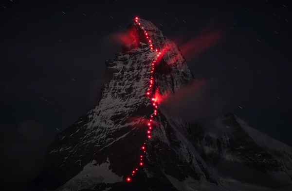 RobertBesch Matterhorn lighted for Mammut