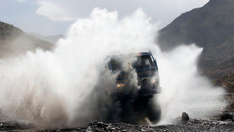 Kamaz driver Andrey Karginov and co-driver Andrey Mokeev, both from Russia, compete in the truck category in the third stage of the 2012 Argentina-Chile-Peru Dakar Rally between San Rafael and San Juan, Argentina, Tuesday Jan. 3, 2012. (AP Photo/Frederic Le Floch,Pool)