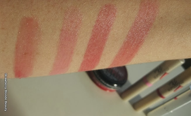Tinted-lip-balm-Carmex-Moisture-Plus-pink-Berry-red-Chantecaille-Lip-Screen-Tint-Sardinia-spf-swatch