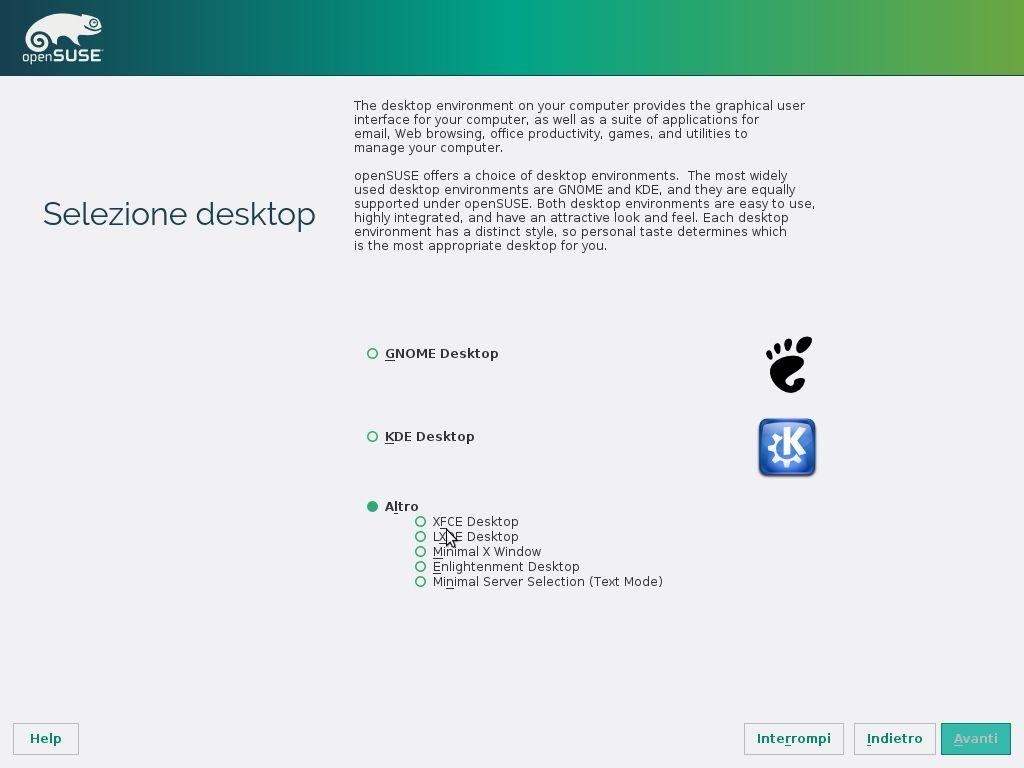 openSUSE Factory Installer - Selezione Desktop