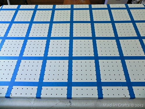 tape off grid on pegboard