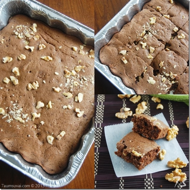 Eggless walnut brownies Collage