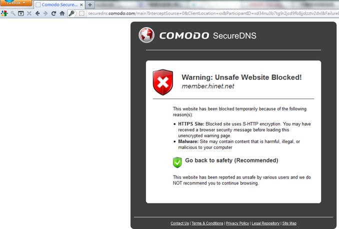 comodo firewall secure DNS block firefox