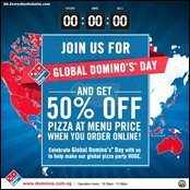 Global Domino's Day Singapore Half Price Pizza Promotion Branded Shopping Save Money EverydayOnSales