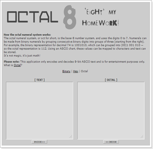 OCTAL 'Eight' my homework!